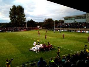 Buona vittoria di Edinburgh Rugby stasera contro Leinster a Meggetland (mia foto)