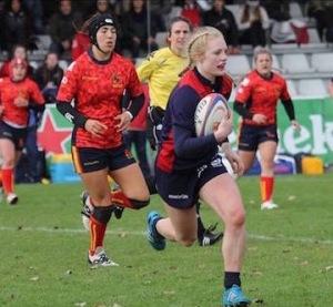 Megan Gaffney in azione nel test vittorioso contro la Spagna (Credit: Scottish Rugby)