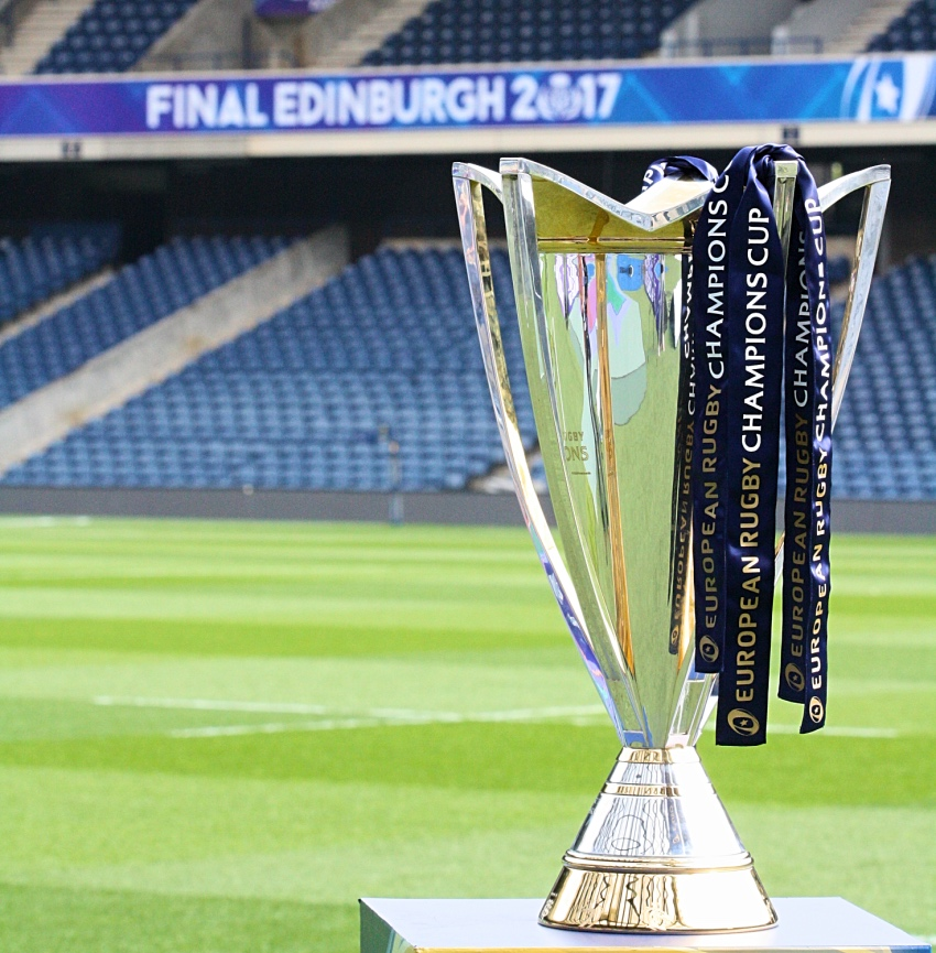 Champions Cup Final 2017 Edinburgh trofeo banner